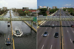 This combo of photos made on March 19, 2018 shows (above)cars driving through a flooded road in the aftermath of Hurricane Maria in San Juan, Puerto Rico, on September 21, 2017 and (below) an aerial view of the Roman Baldorioty de Castro highway six months after the passing of Hurricane Maria in San Juan, Puerto Rico, on March 17, 2018. Six months after Hurricane Maria hit the island on September 20, 2017 uprooting trees, destroying homes, and causing widespread flooding, many remain without power.(RICARDO ARDUENGO/AFP/Getty Images)