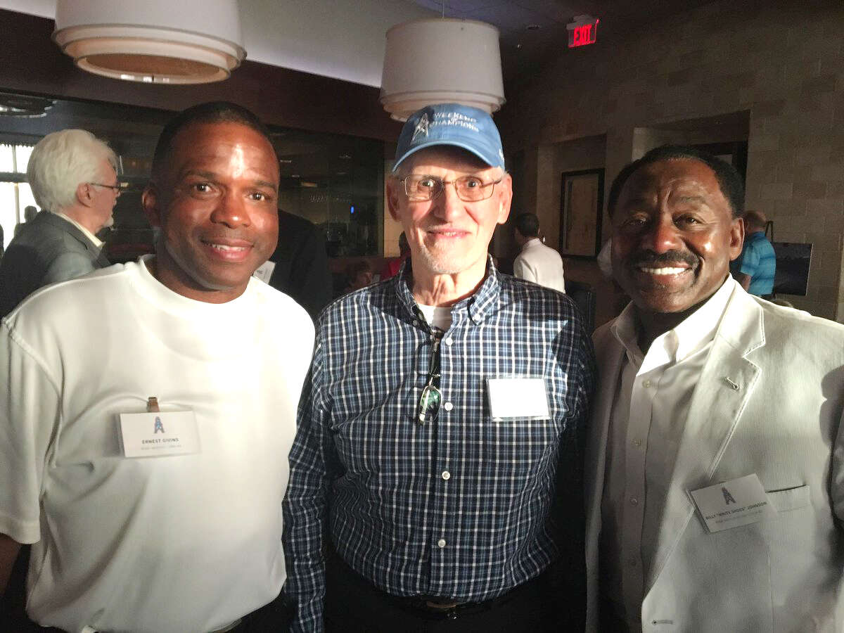 Three great Oilers WRs from three eras: Bill Groman from 1960-61 AFL champions flanked by Billy