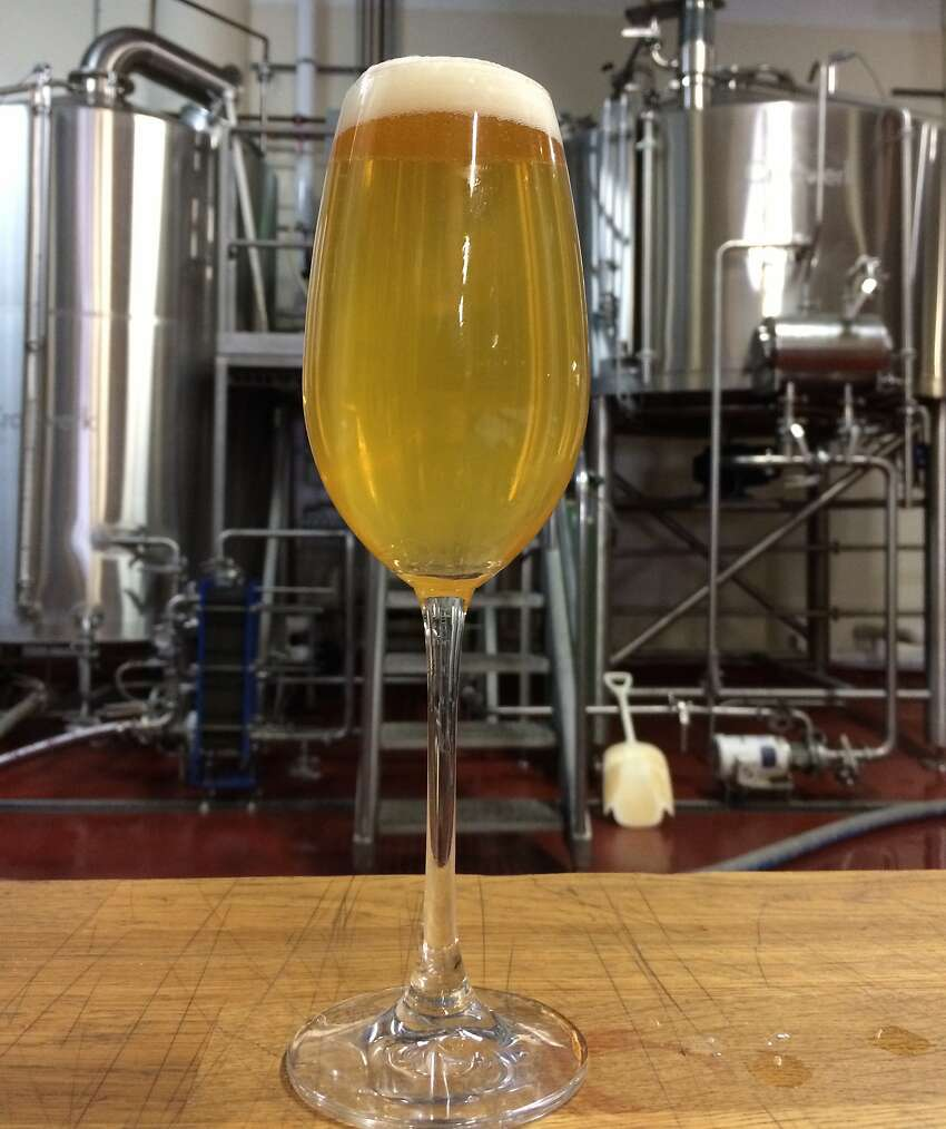 One of Magnolia Brewing's brut IPAs is pictured in the company's San Francisco brewhouse.