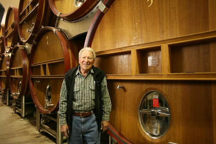 PASO10_1000_cl.JPG Photo of the wine scene in Paso Robles, CA. This is Tablas Creek winery.  Photo of owner, Robert Haas by their huge oak pungeons.  photo by Craig Lee / The Chronicle Ran on: 04-27-2007 At 80 years old, Robert Haas has mastered the wine business, from grapevine to retail shelf.