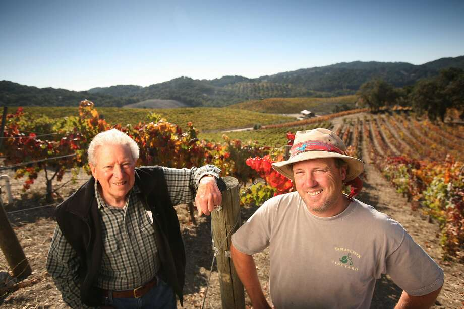 Robert Haas is pictured in 2007 at Tablas Creek in Paso Robles with winemaker Neil Collins. Photo: Photo By Craig Lee, SFC