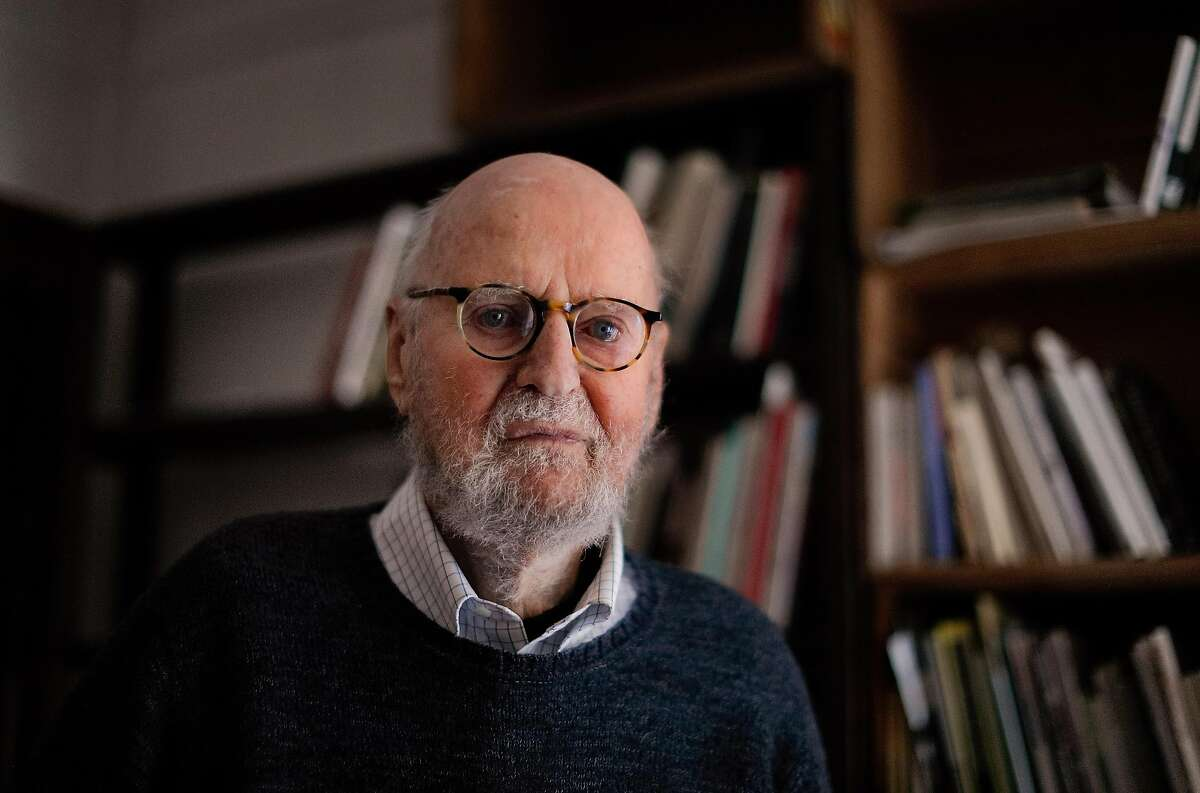 Poet Lawrence Ferlinghetti at his home in San Francisco on March 1, 2018. Ferlinghetti will be 99 on March 24.