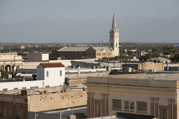 The older part of Laredo, Texas' downtown looking toward Mexico photographed from a downtown parking garage.