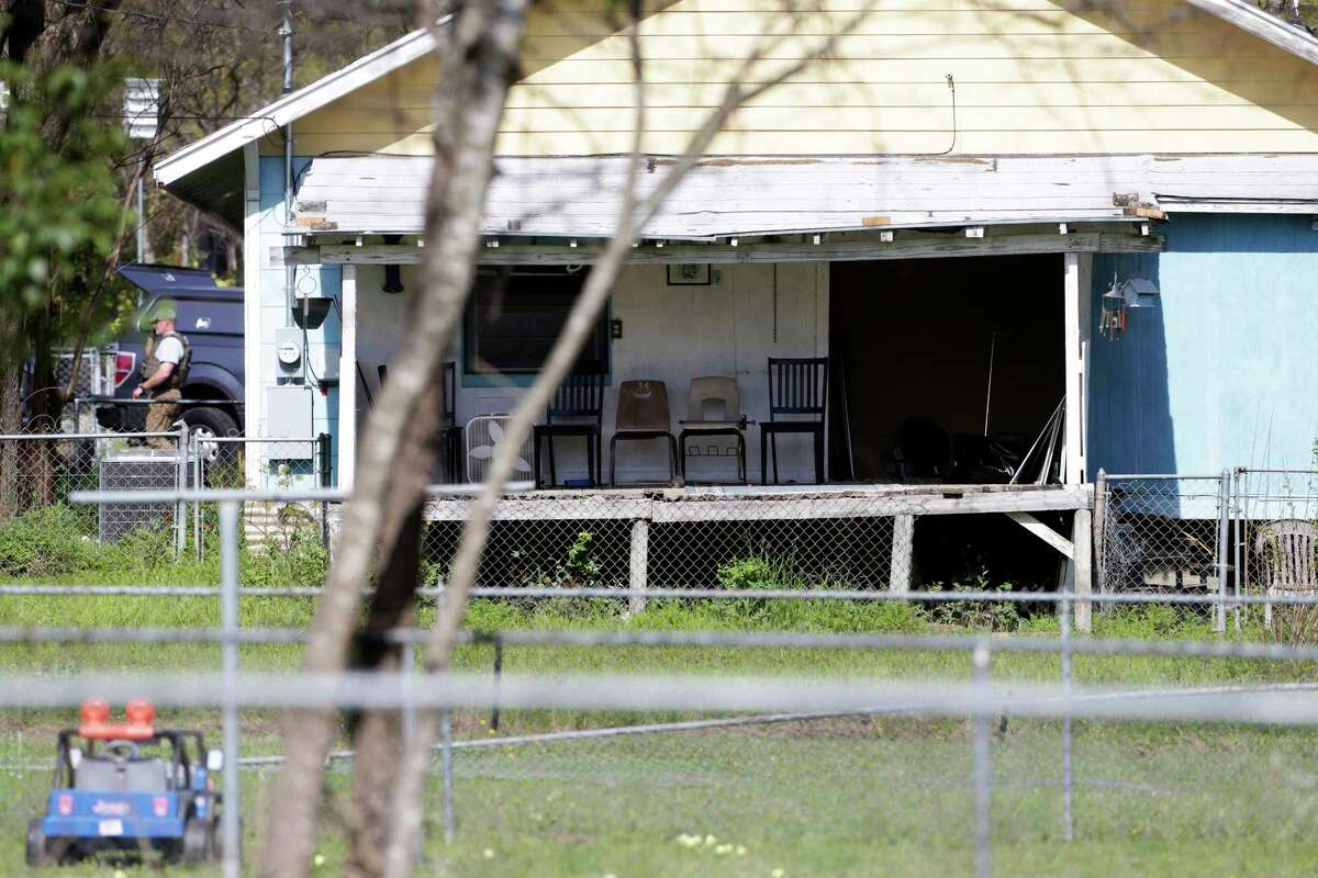 The back porch looks undisturbed at the scene of Walnut and 2nd Street in Pflugerville where bombing suspect lived on March 21, 2018.