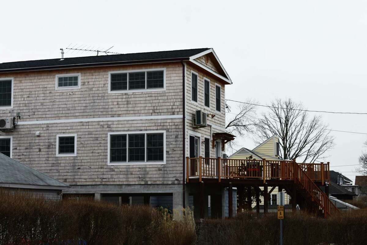 A modular-construction home in March 2018 in the Harbor View neighborhood in Norwalk, Conn., less than two years after it was assembled.