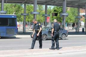 San Antonio police shut down parts of Houston and Frio streets to investigate a stabbing outside of the Via Centro Plaza on March 21, 2018.