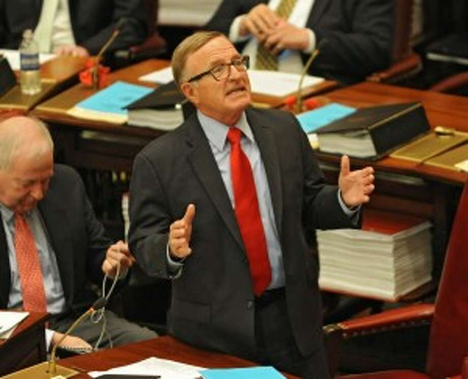 Senator John DeFrancisco speaks as members of the New York State Senate gather for session in the senate chamber at the Capitol on Monday, May 4, 2015 in Albany, N.Y. (Lori Van Buren / Times Union)