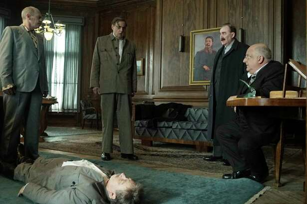 """Steve Buscemi, from left, Adrian McLoughlin, Jeffrey Tambor, Dermot Crowley and Simon Russell Beale  star in """"The Death of Stalin,"""" which is based on a  2017 graphic novel."""
