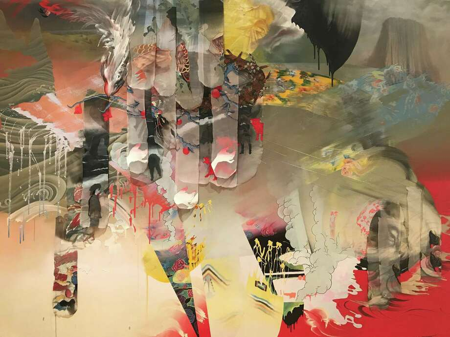 """Lien Truong's mixed-media painting """"... and still we banter with the Devil"""" is from a series that interprets the work of Thomas Cole. Photo: Molly Glentzer"""