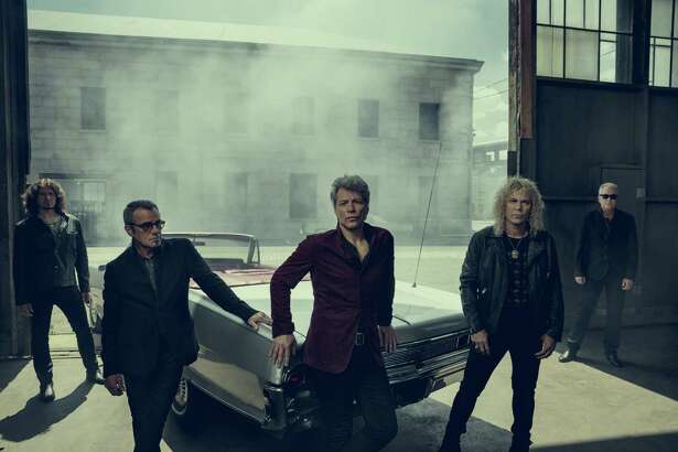 Bon Jovi -- Jon Bon Jovi (center) flanked by Tico Torres and David Bryan, with Phil X (left) and Hugh McDonald -- will play the AT&T Center in San Antonio before being inducted into the Rock and Roll Hall of Fame in April.