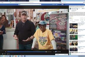 "Celebrity host Mike Rowe honors San Antonio restaurant owner Alice Harper of Ma Harper's Creole Kitchen on his new Facebook series ""Returning the Favor."""