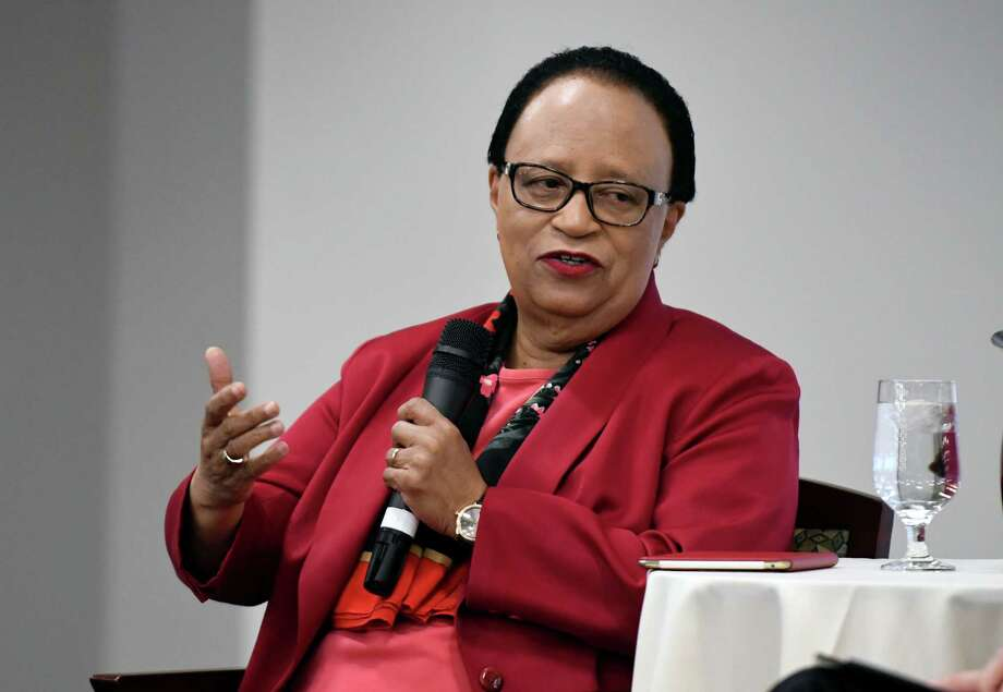 Shirley Ann Jackson, president of Rensselaer Polytechnic Institute, speaks during a Leadership Luncheon colloquy with Rex Smith, editor of the Times Union, on Wednesday, March 21, 2018, at the Hearst Media Center in Colonie, N.Y. Jackson, the first African-American woman to earn a doctorate at MIT, is a former head of the U.S. Nuclear Regulatory Commission and chair of the PresidentÕs Intelligence Advisory Board; she is a director of many corporations and organizations and a frequent participant in key global conversations on matters pertaining to education, energy, the environment and the economy. (Will Waldron/Times Union) Photo: Will Waldron, Albany Times Union / 20043262A