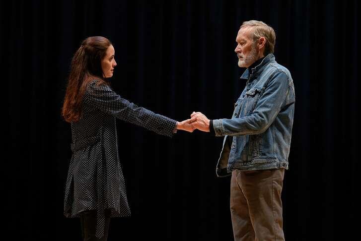 "Georgie Burns (Sarah Grace Wilson) and Alex Priest (James Carpenter) in American Conservatory Theater's ""Heisenberg."""