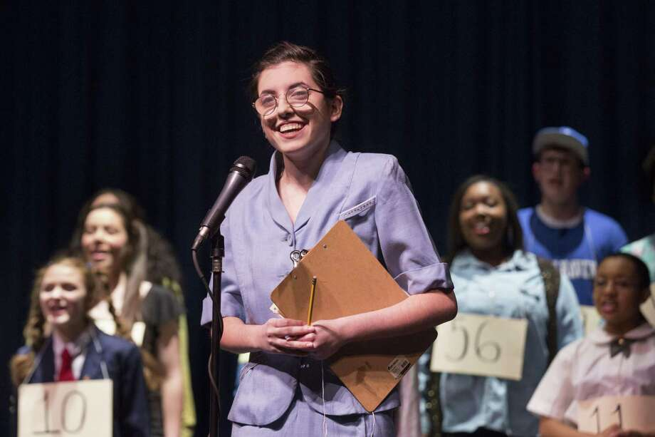 "Olivia Coppola plays Rona Perritti when the West Haven High School Theatre Workshop this weekend presents its production of the Tony Award-winning musical, ""The 25th Annual Putnam County Spelling Bee."" Performances will be in the WHHS auditorium on Friday and Saturday, with both shows beginning at 7:30 p.m. There will be an additional performance at 2 p.m. Saturday. Tickets are $12 in advance and $15 at the door. All student tickets are $5. The 2pm matinee is free for senior citizens. Tickets can be purchased at West Haven High or at Goldworks, 499 Campbell Ave. Photo: Harold Shapiro / Contributed / / Photo Credit Must Be Given:Harold Shapiro"