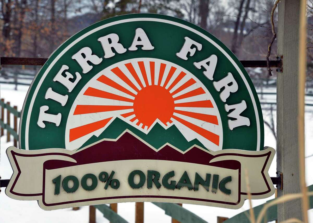 Sign outside the Tierra Farm production facility and retail store Friday March 9, 2018 in Valatie, NY. (John Carl D'Annibale/Times Union)