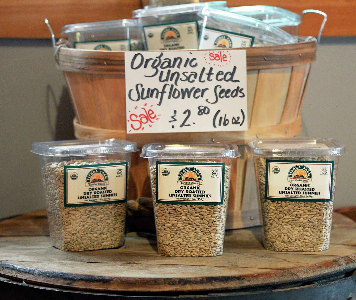 Organic sunflower seeds on display at Tierra Farm's retail store Friday March 9, 2018 in Valatie, NY. (John Carl D'Annibale/Times Union)