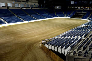 Dirt nearly a foot deep covers the arena floor at Ford Arena for the YMBL Championship Rodeo during the South Texas State Fair.   Photo taken Wednesday 3/14/18 Ryan Pelham/The Enterprise