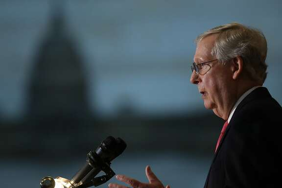 """WASHINGTON, DC - MARCH 21:  Senate Majority Leader Mitch McConnell (R-KY) speaks during a Congressional Gold Medal award ceremony at the U.S. Capitol March 21, 2018 in Washington, DC. Members of Congress presented members of the O.S.S. with the the highest award given by Congress """"in honor of the members of the Office of Strategic Services for their historic contributions during World War II.""""  (Photo by Win McNamee/Getty Images)"""