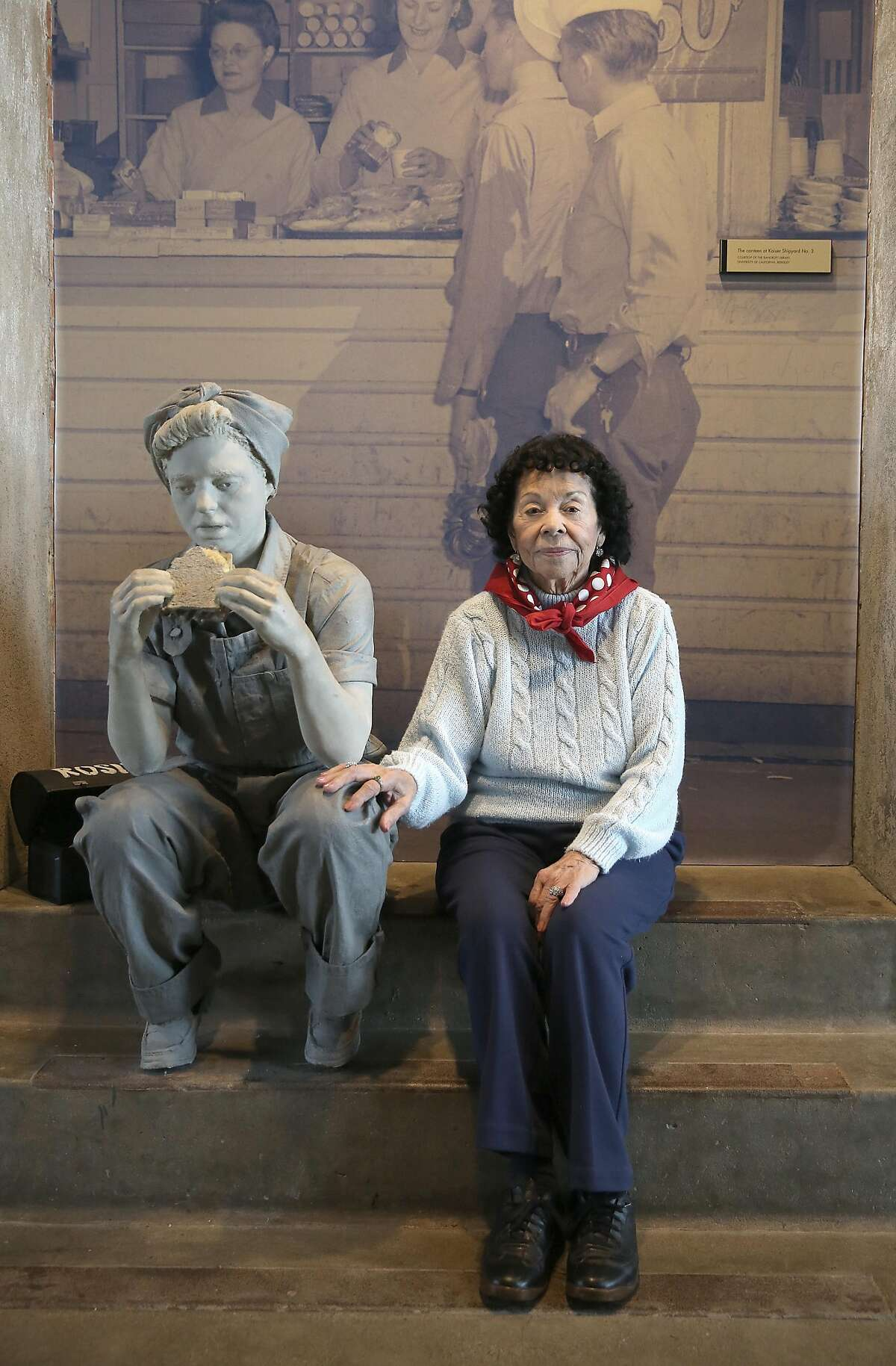 Welder Connie Rangel Gomez, 94 years old, at the Rosie the Riveter/World War II Home Front Visitor Education Center on Wednesday March 21, 2018, in Richmond, Calif., as the 2018 National Rosie the Riveter Day is recognized.