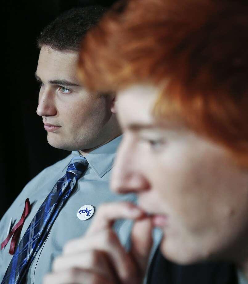 Ryan Deitsch (right) and Alex Wind, survivors of the shooting at Marjory Stoneman Douglas High School in Parkland, Fla., are interviewed in New York. Photo: Bebeto Matthews, Associated Press