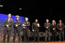 Officials preside at a previous Pasadena Police Department academy graduation ceremony. Pasadena City Council has approved spending $987,800 for fund design work on a proposed new police/ firefighter training facility,, but some on the council say the move is premature because money to build that facility hasn't been secured.
