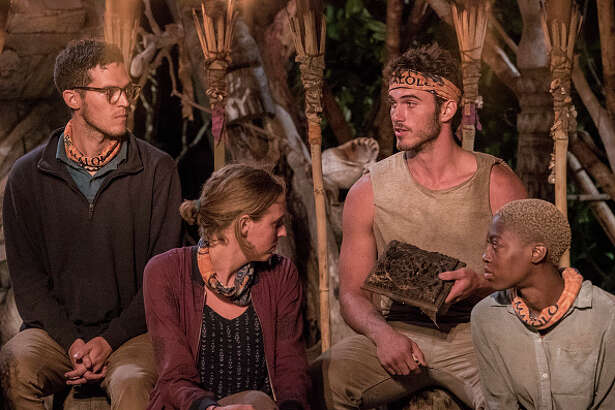 "MANA ISLAND - JUNE 16: ""Trust Your Gut"" - Bradley Kleihege, Kellyn Bechtold, Michael Yerger, and Desiree Afuye at Tribal Council on the fourth episode of Survivor: Ghost Island, airing Wednesday, March 14 (8:00-9:00 PM, ET/PT) on the CBS Television Network. (Photo by Robert Voets/CBS via Getty Images)"