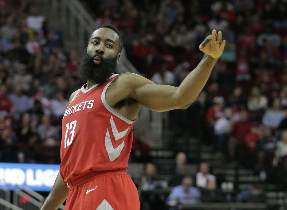 Houston Rockets guard James Harden (13) gestures after scoring a three-point-shot against San Antonio Spurs at the Toyota Center on Monday, March 12, 2018, in Houston. Rockets won the game 109-93. ( Elizabeth Conley / Houston Chronicle ) Photo: Elizabeth Conley, Staff / © 2018 Houston Chronicle