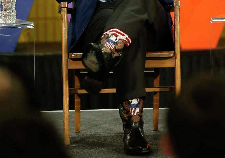 A closeup of Arnold Schwarzenegger's boots at the New Way California summit Wednesday. Photo: Damian Dovarganes, AP / Copyright 2018 The Associated Press. All rights reserved.