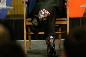 A closeup of Arnold Schwarzenegger's boots at the New Way California summit Wednesday.
