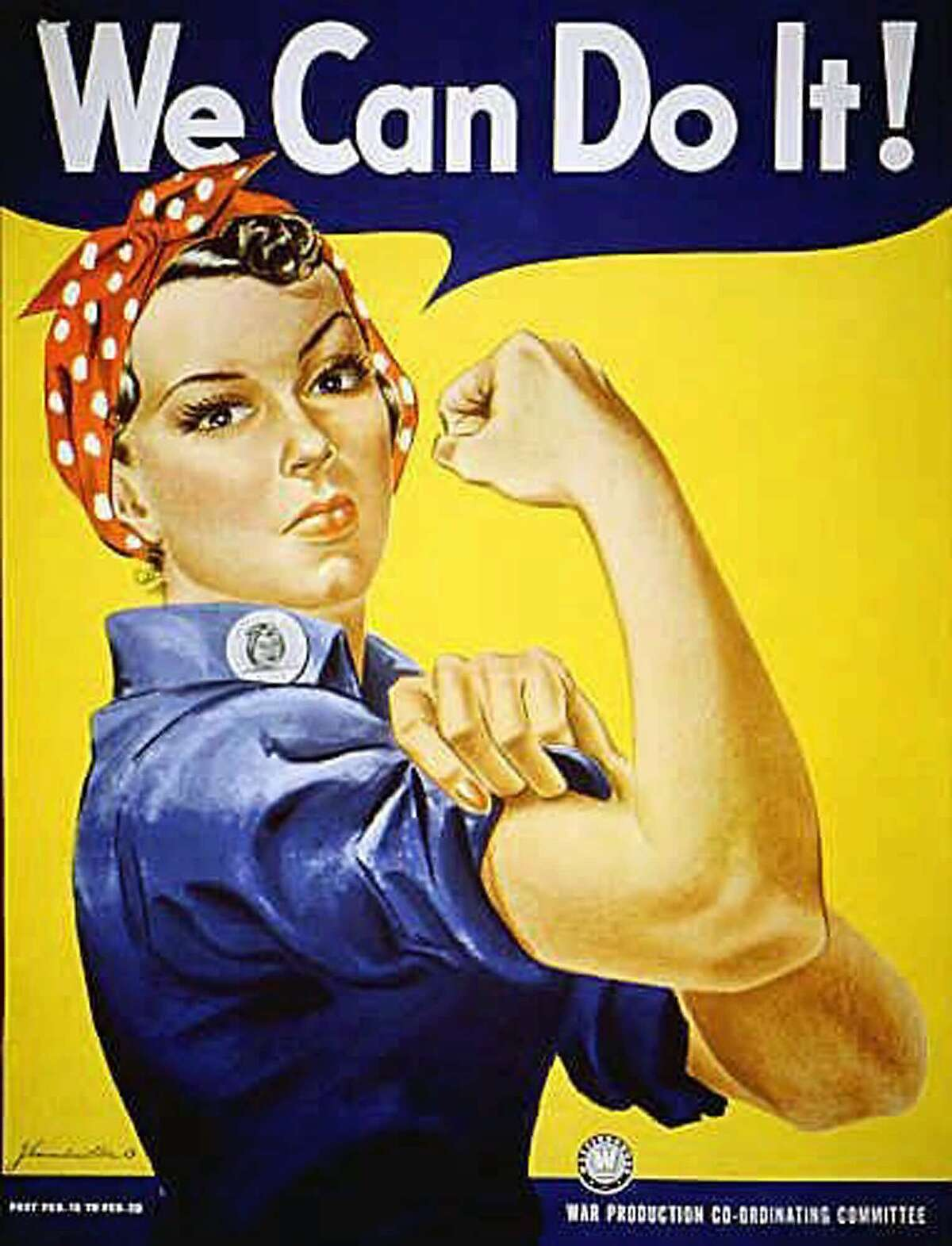 """""""Rosie the Riveter"""" dressed in overalls and bandanna was introduced as a symbol of patriotic womanhood in the 1940's. Rose Will Monroe played """"Rosie the Riveter,"""" the nation's poster girl for women joining the work force during World War II. Monroe was working as a riveter building B-29 and B-24 military airplanes at the Willow Run Aircraft Factory in Ypsilanti, Mich., when she was asked to star in a promotional film about the war effort. (AP Photo)"""