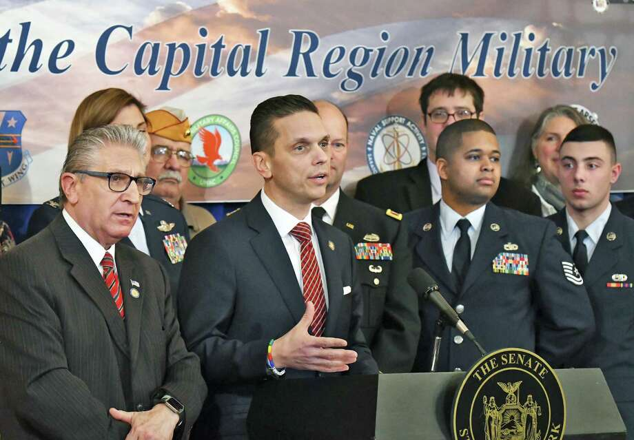 Senator James Tedisco, left, and Assembly Member Angelo Santabarbara join with the Capital Region Chamber's Unified Military Affairs Council (UMAC) to highlight more than $1 billion in economic impact made by the region?s military installations during a news conference at the Capitol Wednesday March 21, 2018 in Albany, NY. UMAC's mission is to highlight the importance of the military presence here in the Capital Region and ensure its long-term viability and success. (John Carl D'Annibale/Times Union) Photo: John Carl D'Annibale / 20043270A
