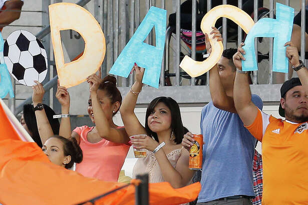 Houston Dash fans in the stands during the first half of a National Women's Soccer League game at BBVA Compass Stadium, Friday, April 29, 2016, in Houston.  ( Karen Warren  / Houston Chronicle )