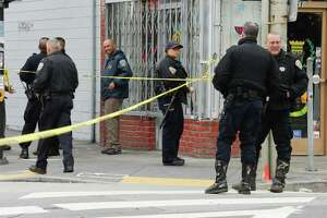 San Francisco Police and Emergency services respond to a shooting reported at Geneva and Mission Street in San Francisco on Wednesday March 21, 2018.