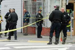 San Francisco Police and Emergency services respond to a shooting reported at the intersection of Geneva and Mission Street in San Francisco on Wednesday March 21, 2018.