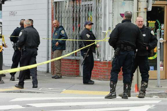 San Francisco Police and Emergency services respond to a shooting reported at Geneva and Mission Street in San Francisco on Wednesday March 21, 2018.The suspect in the shooting was identified as 21-year-old Suisun City resident Jehad Eid.
