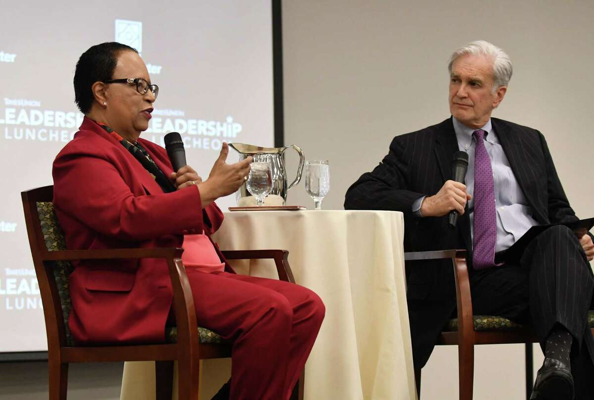 Shirley Ann Jackson, president of Rensselaer Polytechnic Institute, left, speaks during a Leadership Luncheon colloquy with Rex Smith, editor of the Times Union, right, on Wednesday, March 21, 2018, at the Hearst Media Center in Colonie, N.Y. Jackson, the first African-American woman to earn a doctorate at MIT, is a former head of the U.S. Nuclear Regulatory Commission and chair of the PresidentOs Intelligence Advisory Board; she is a director of many corporations and organizations and a frequent participant in key global conversations on matters pertaining to education, energy, the environment and the economy. (Will Waldron/Times Union)
