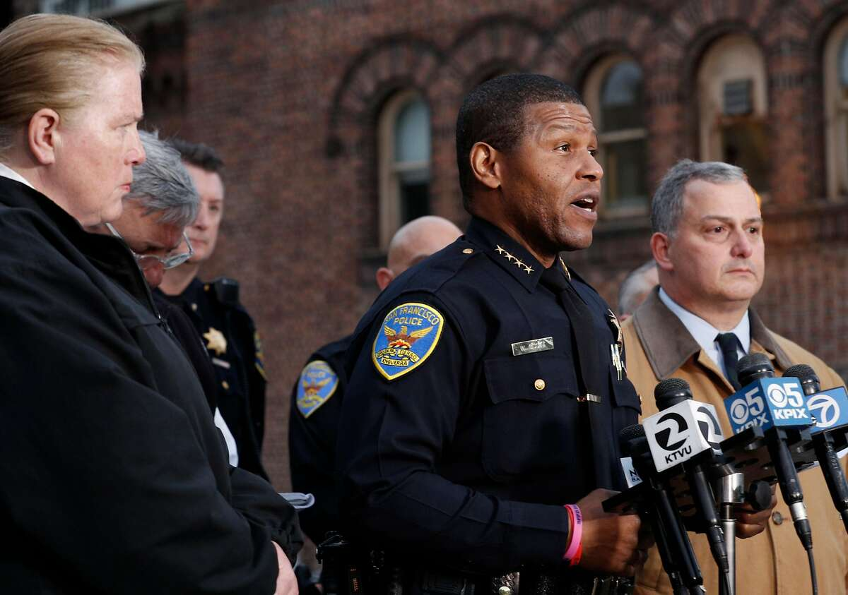 San Francisco police chief Bill Scott makes a statement to the media outside the emergency room where an officer is being tended to after being involved in a shooting this afternoon, in San Francisco, Calif., on Wed. March 21, 2018. The suspect in the shooting was identified as 21-year-old Suisun City resident Jehad Eid.