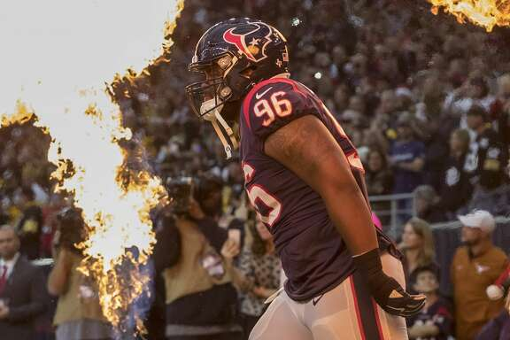 HOUSTON, TX - DECEMBER 25: Chunky Clements #96 of the Houston Texans enters the stadium before the game against the Pittsburgh Steelers at NRG Stadium on December 25, 2017 in Houston, Texas. (Photo by Tim Warner/Getty Images)