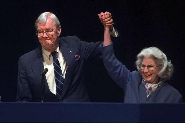 Senator Patrick Moynihan and his wife Liz acknowledge the crowd at the state Democratic convention on Tuesday May 16, 2000, at the Times Union Center in Albany, N.Y. Hillary Clinton was the Democratic nominee to run for his seat. (Philip Kamrass/Times Union)
