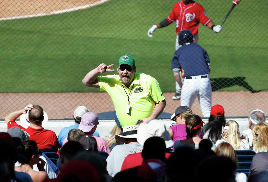 It's not gulp fiction: Steve Bauer will happily dance for the crowd at Fitteam Ballpark of the Palm Beaches if it means closing a beer sale. Photo: Karen Warren, Staff / © 2018 Houston Chronicle