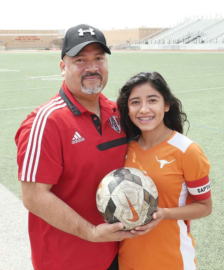 David Valdez is the head coach for girls' soccer at Martin while his daughter Clarissa is a captain for United. Photo: Cuate Santos /Laredo Morning Times / Laredo Morning Times