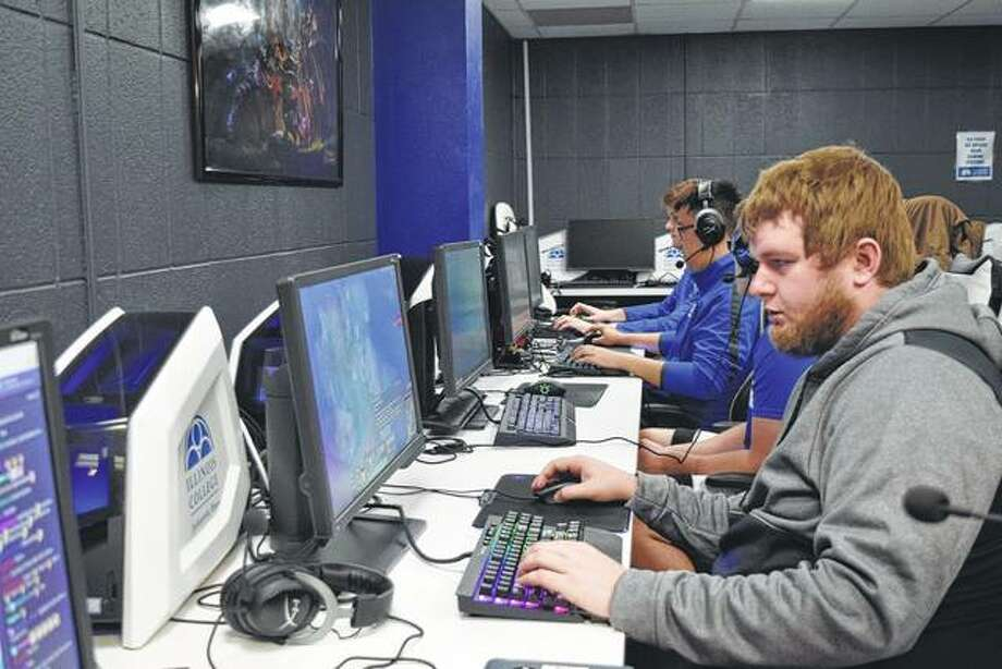 "Dylan Cawthon plays ""League of Legends"" during practice for Illinois College's esports team. This is the team's first year of competition. Photo: Audrey Clayton 