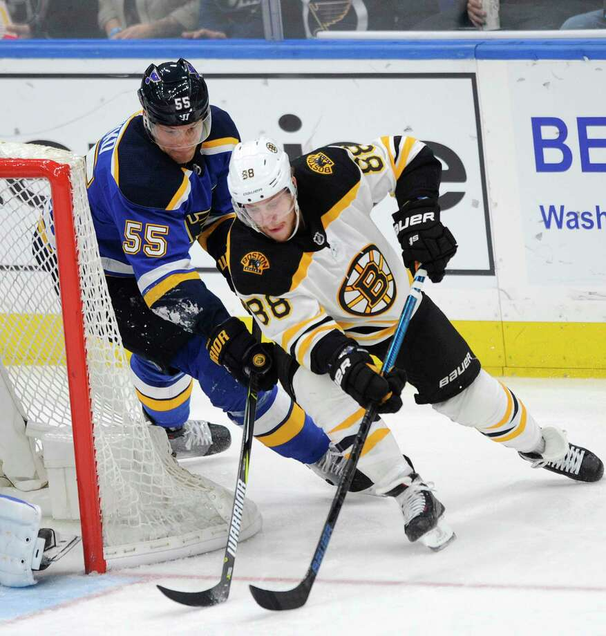 Boston Bruins' David Pastrnak (88) skates around St. Louis Blues' Colton Parayko (55) during the third period of an NHL hockey game Wednesday, March 21, 2018, in St. Louis. The Blues won in overtime, 2-1. (AP Photo/Bill Boyce) Photo: Bill Boyce / FR84052 AP