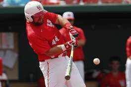 Houston Cougars first baseman Joe Davis (44) hits a home run in the sixth inning during the 2017 NCAA Houston Regional baseball game between the Houston Cougars and the Baylor Bears at Schroeder Park on Saturday, June 3, 2017, in Houston, TX.