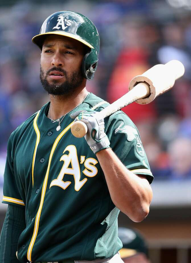 MESA, AZ - FEBRUARY 28:  Marcus Semien #10 of the Oakland Athletics warms up on deck during the spring training game against the Chicago Cubs at Sloan Park on February 28, 2018 in Mesa, Arizona.  ~~ Photo: Christian Petersen, Getty Images