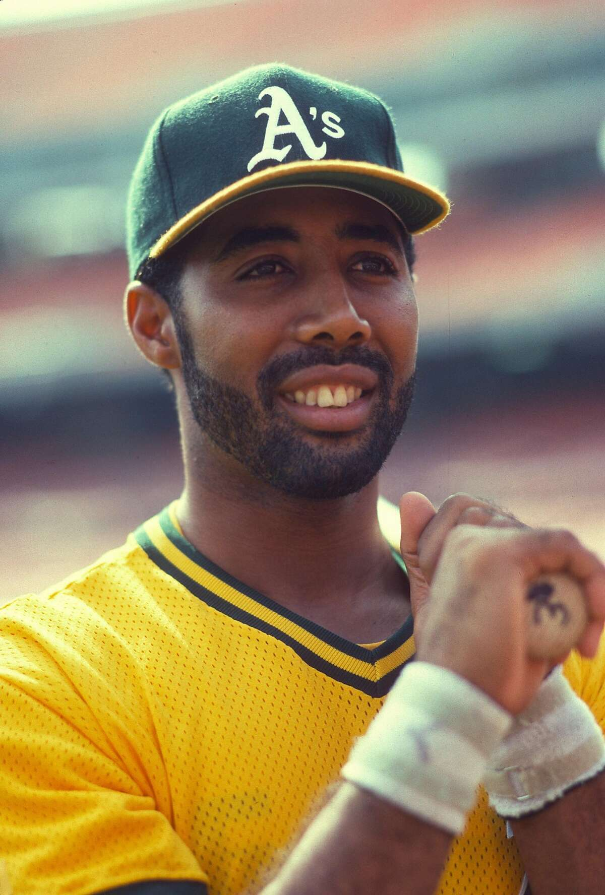 OAKLAND, CA - CIRCA 1991: Harold Baines #3 of the Oakland Athletics looks on during batting practice prior to the start of a Major League Baseball game circa 1991 at the Oakland-Alameda County Coliseum in Oakland, California. Baines played for the Athletics from 1990-92. (Photo by Focus on Sport/Getty Images)