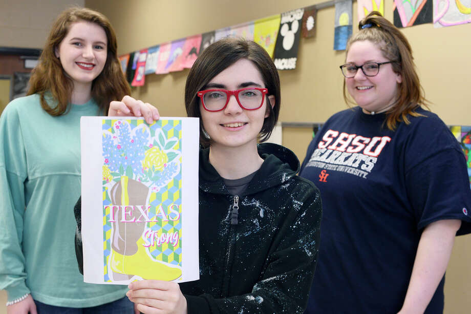 """Hardin-Jefferson art students Zoe Bjerke, left, Faith Herman and Hannah Fontenot worked together to design an egg for the White House Egg Roll. The design features a cowboy boot with blue bonnets and yellow roses and a """"Texas Strong"""" message.  Photo taken Wednesday 3/21/18 Ryan Pelham/The Enterprise Photo: Ryan Pelham / ©2017 The Beaumont Enterprise/Ryan Pelham"""