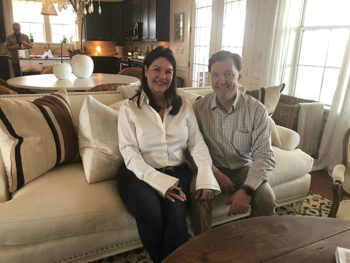 From left, Kimberley and a Richard Rolland at their weekend home in Carmine, Texas.
