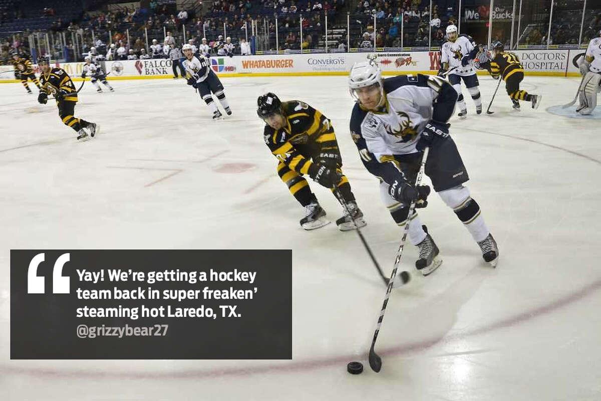 "@grizzybear27: ""Yay! We're getting a hockey team back in super freakin' steaming hot Laredo, TX."""