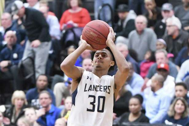 Notre Dame's Tyler Bourne during the Division I boys basketball quarterfinals between Danbury and Notre Dame-Fairfield at Trumbull High, March 12, 2018.